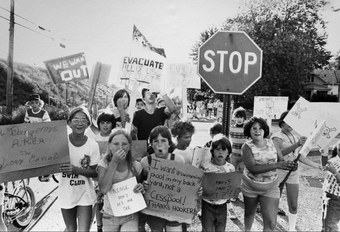 """Local children in Niagara Falls, New York, protest toxic contamination of Love Canal, as seen in """"American Masters: A Fierce Green Fire."""""""