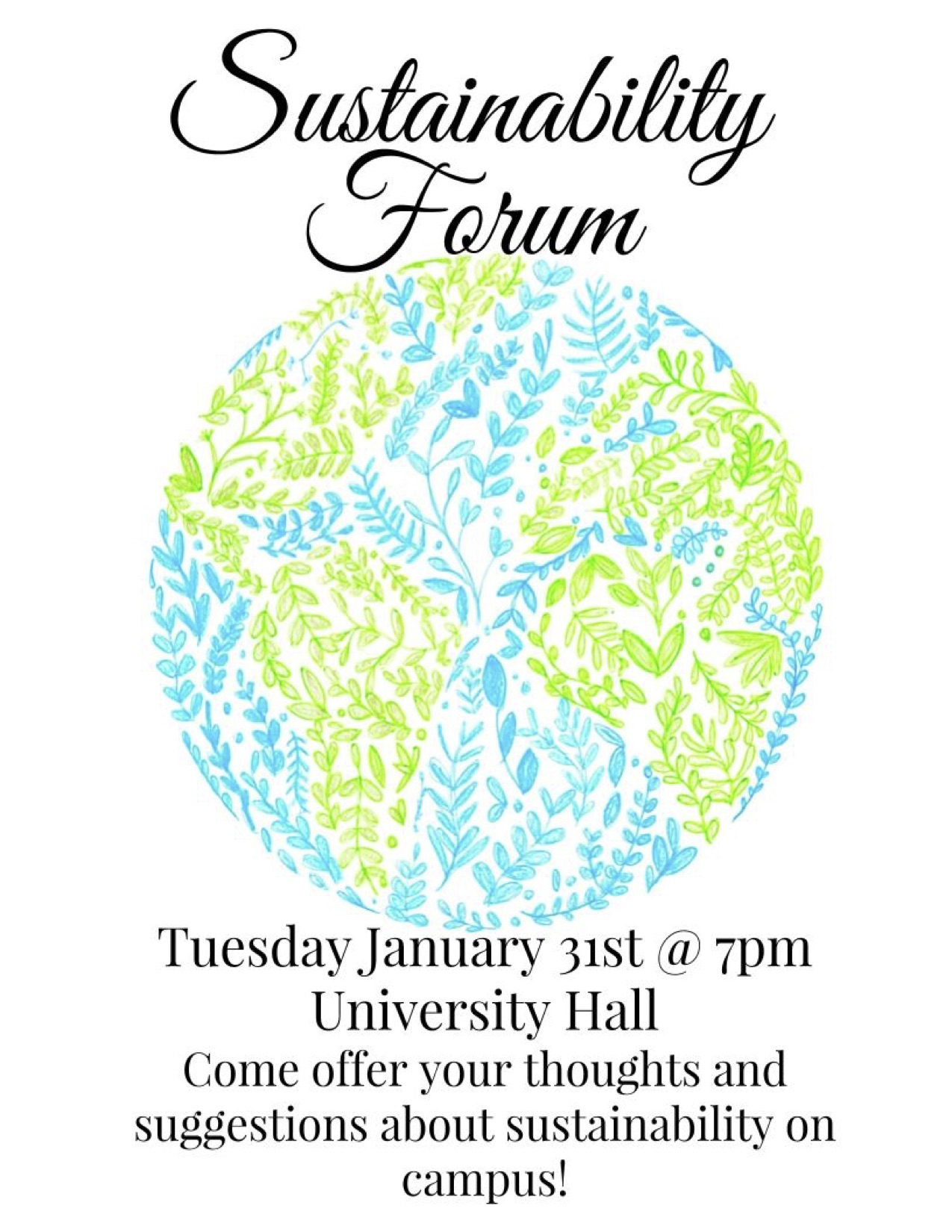 Sustainability Forum to be Held in University Hall