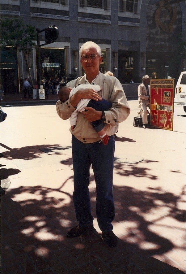 Talullah Blanco and her grandfather on vacation in San Francisco.