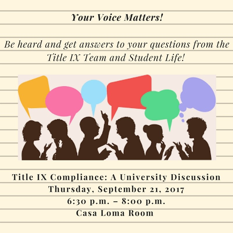 Title IX: Be Heard and Get Answers