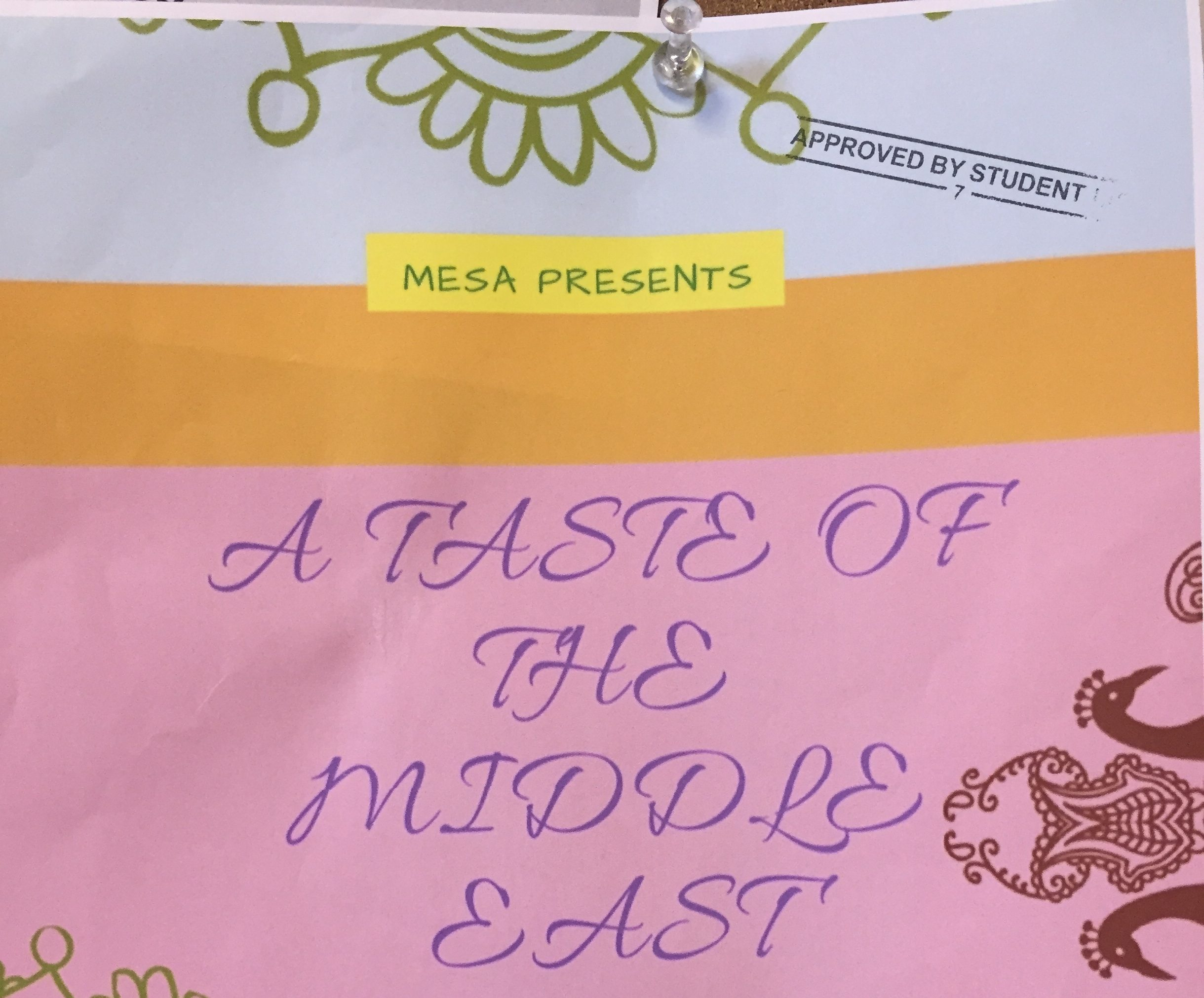 "MESA TO HOST ""TASTE OF THE MIDDLE EAST"" THURSDAY"
