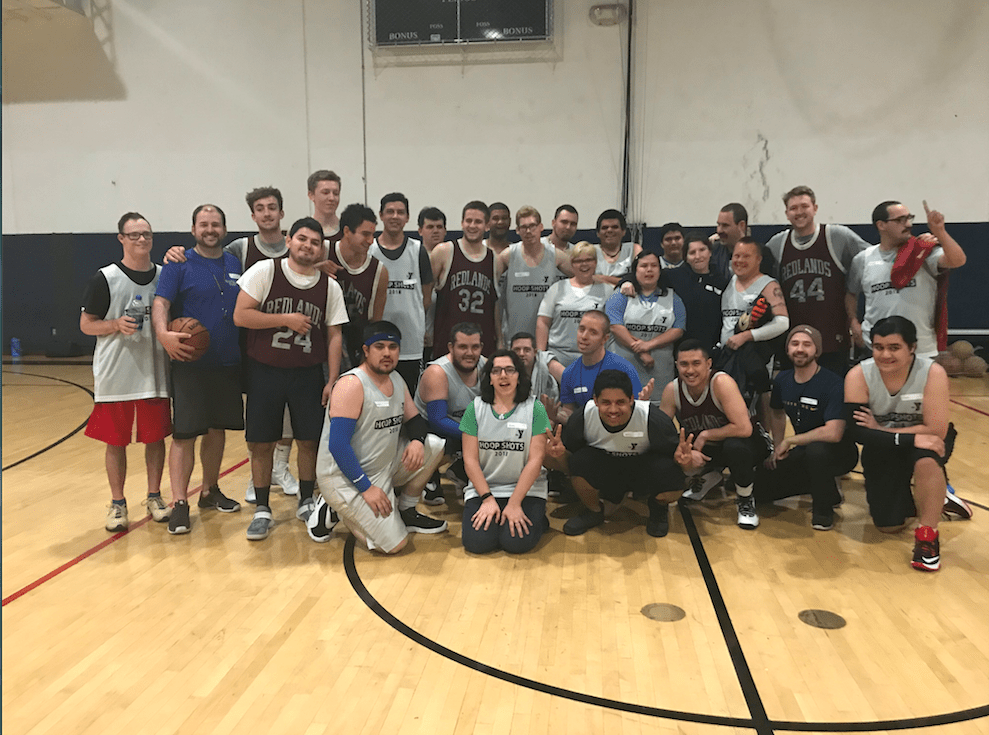 UNIVERSITY OF REDLANDS BASKETBALL TEAM PLAYS YMCA'S HOOPSHOTS